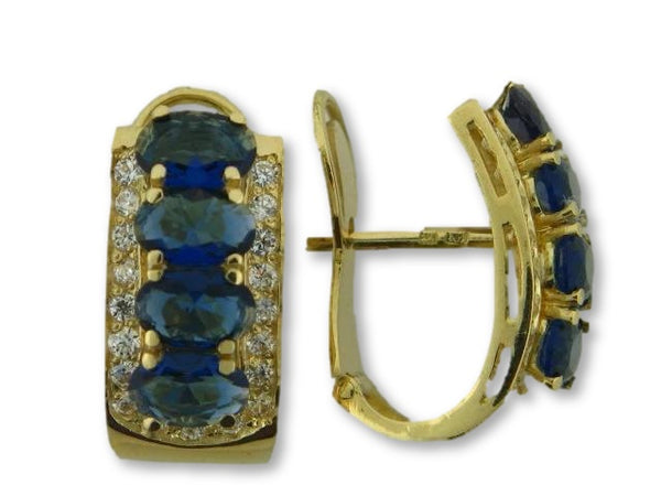 19.2k Portuguese Gold Earrings With Synthetic Stones