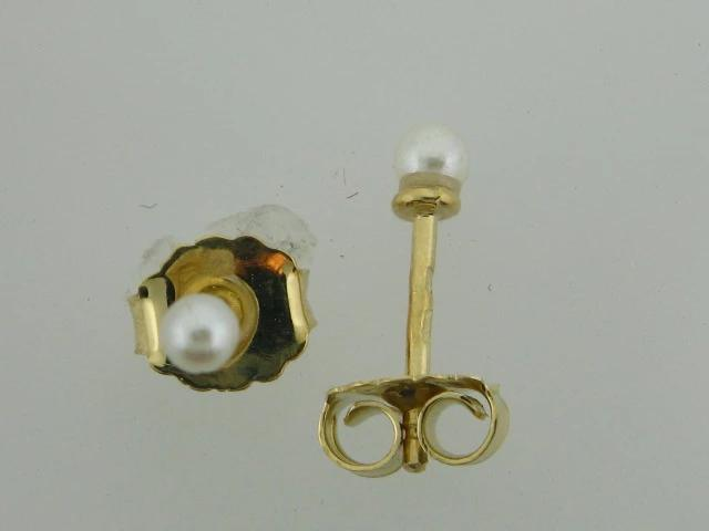 JBR64- 19.2k Portuguese Gold Pearl Stud Kids Earrings - Columbia Jewelers, Fall River, Massachusetts, USA