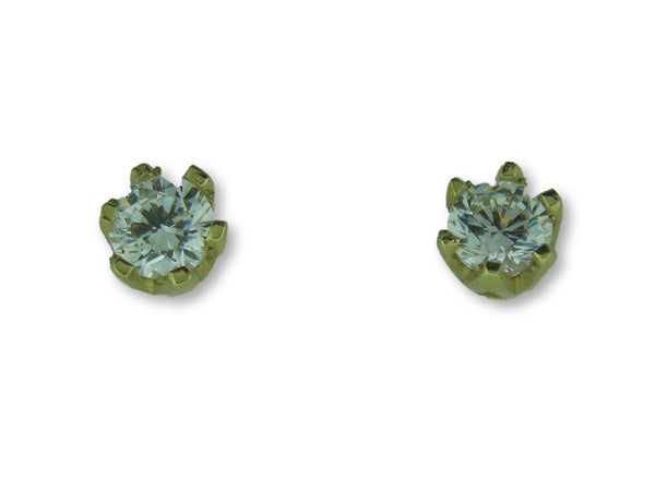 21064- 19.2k Portuguese Gold Stud Earrings with CZs - Columbia Jewelers, Fall River, Massachusetts, USA