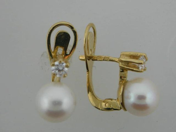21225- 19.2k Portuguese Gold Pearl & CZs Earrings - Columbia Jewelers, Fall River, Massachusetts, USA