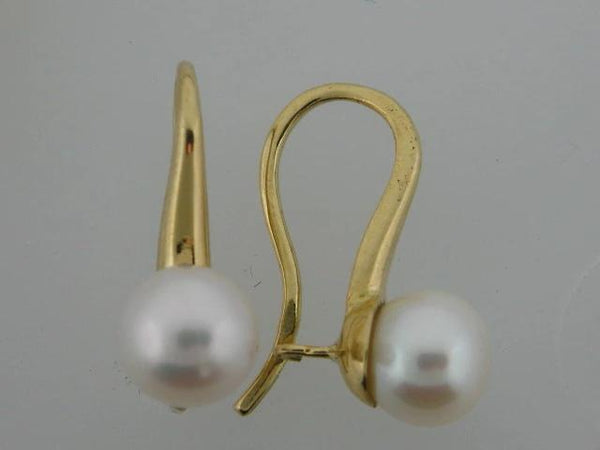 21473- 19.2k Portuguese Gold Pearl Earrings - Columbia Jewelers, Fall River, Massachusetts, USA