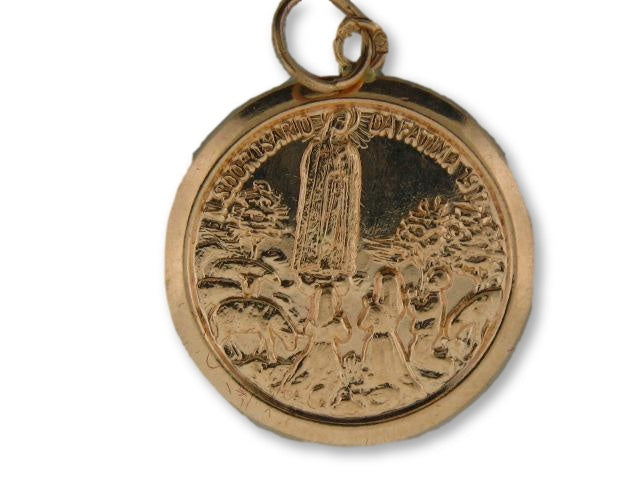 "1650/20.5 - 19.2k Portuguese Gold Round (20.50mm) ""Fatima"" Medal - Columbia Jewelers, Fall River, Massachusetts, USA"