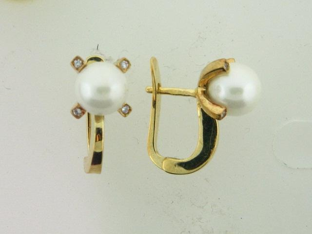 10.01759- 19.2k Portuguese Gold Pearl & CZs Earrings - Columbia Jewelers, Fall River, Massachusetts, USA