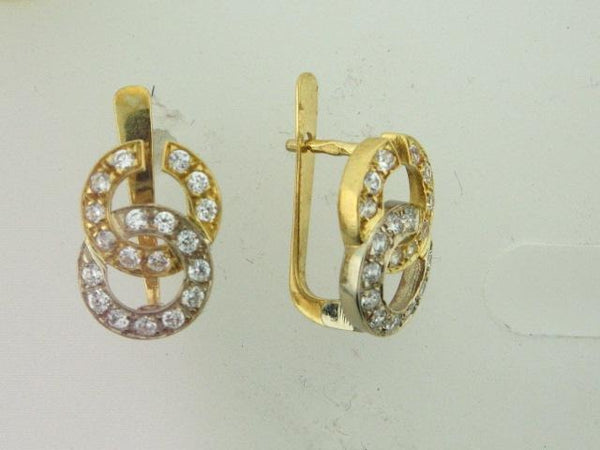 156738- 19.2k Two Tones Portuguese Gold Earrings - Columbia Jewelers, Fall River, Massachusetts, USA