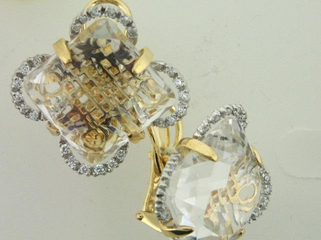 22.501 - 19.2kt Two Tone Portuguese Gold Earrings With Diamonds And Topaz - Columbia Jewelers, Fall River, Massachusetts, USA