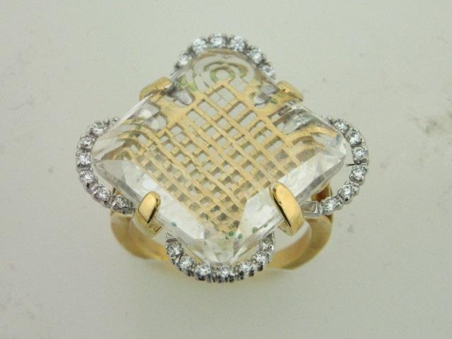 22.502 - 19.2kt Two Tone Portuguese Gold Ring With Diamonds And Topaz - Columbia Jewelers, Fall River, Massachusetts, USA