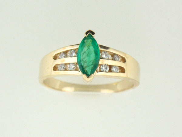84 - 14kt Yellow Gold Genuine Emerald & Diamonds Ladies Ring - Columbia Jewelers, Fall River, Massachusetts, USA