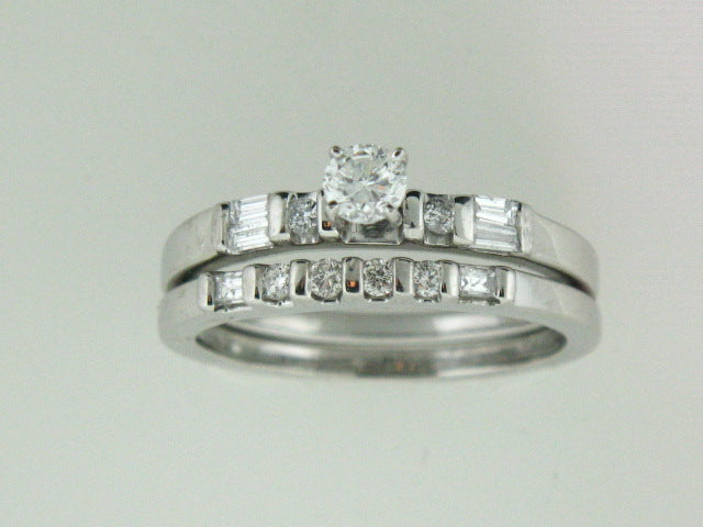 514 - Platinum Genuine Diamonds Ring Set - Columbia Jewelers, Fall River, Massachusetts, USA