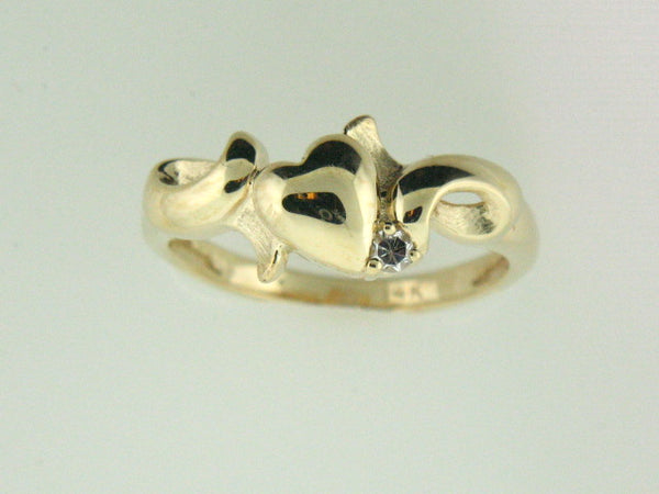519 - 14kt Yellow Gold Heart Genuine Diamond Ladies Ring - Columbia Jewelers, Fall River, Massachusetts, USA