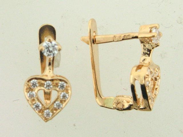 4597 - 19.2k Portuguese Gold Heart Design Kid's C.Z. Earrings - Columbia Jewelers, Fall River, Massachusetts, USA