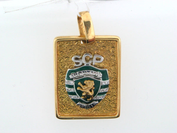 19.2k Portuguese Gold Sporting Clube de Portugal Medal With Diamonds
