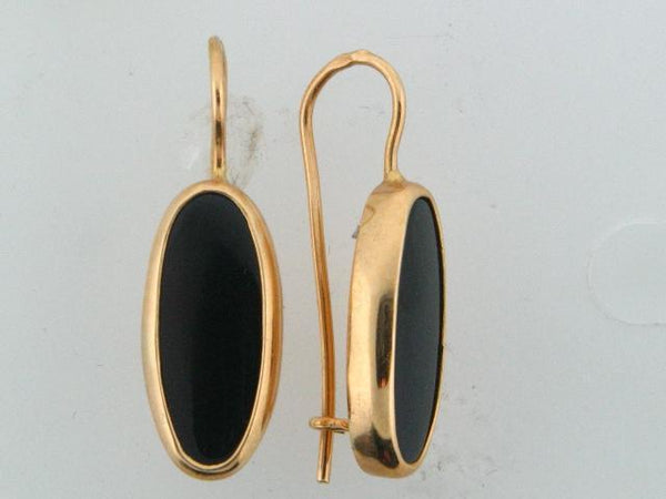 19.2kt Portuguese Gold Earrings - Oval Genuine Onix Stone