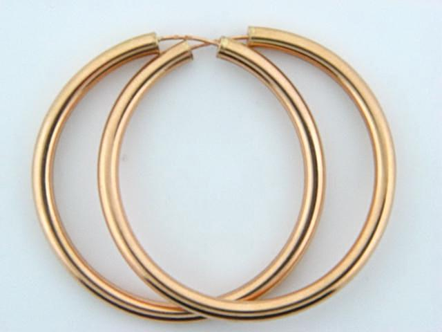 19.2k Gold Plain Hoops Earrings (3.5mm thickness / 48mm Diameter)