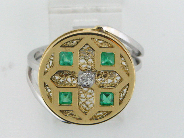 19kt Portuguese Gold Ring with Diamonds & Emeralds
