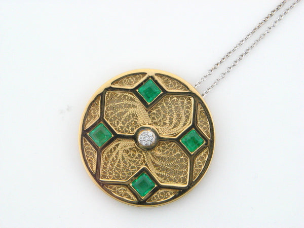 19.2kt Two Tone Gold Necklace with Diamonds & Emeralds
