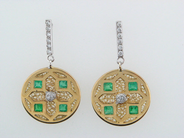 J17051A1FGBR - 19.2kt Portuguese Gold Earrings with Diamonds & Emeralds - Columbia Jewelers, Fall River, Massachusetts, USA
