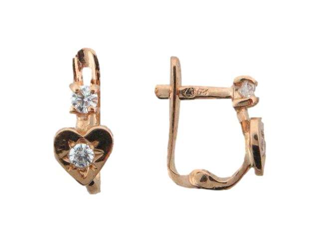 JBR12 - 19.2k Portuguese Gold Heart Kid's C.Z. Earrings - Columbia Jewelers, Fall River, Massachusetts, USA