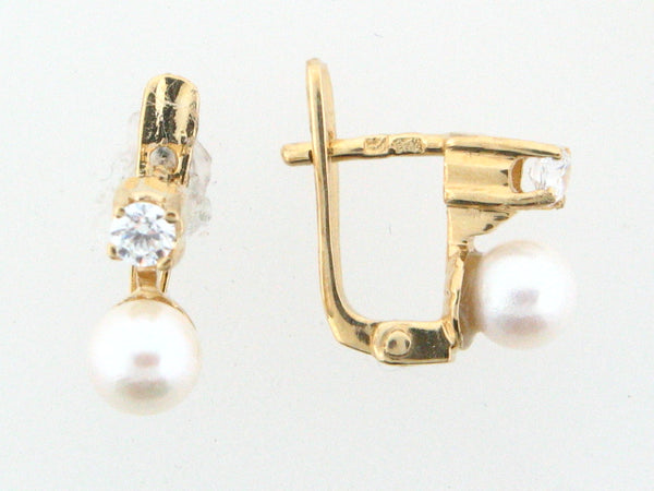 JBR18 - 19.2k Portuguese Gold Pearl Kids Earrings - Columbia Jewelers, Fall River, Massachusetts, USA