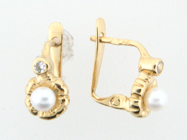 JBR20- 19.2k Portuguese Gold Pearl Kids Earrings - Columbia Jewelers, Fall River, Massachusetts, USA