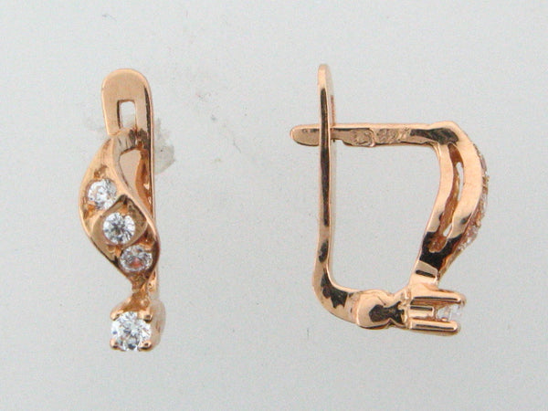 JBR28 - 19.2k Portuguese Gold Kid's C.Z. Earrings - Columbia Jewelers, Fall River, Massachusetts, USA