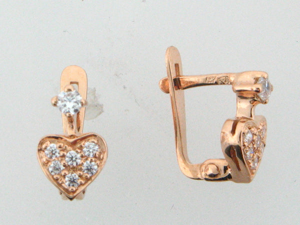 JBR8 - 19.2k Portuguese Gold Heart Kid's C.Z. Earrings - Columbia Jewelers, Fall River, Massachusetts, USA