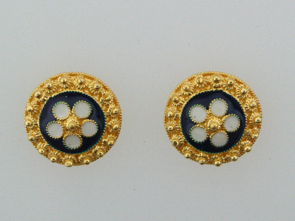PB3493 - 19.2kt Portuguese Gold Enameled Stud Earrings - Columbia Jewelers, Fall River, Massachusetts, USA