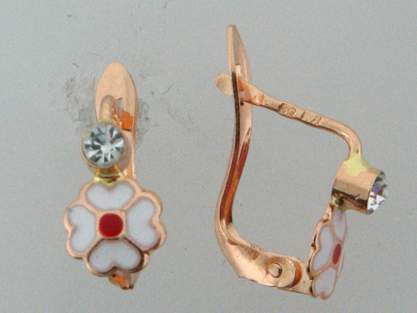 19.2k Portuguese Gold Enameled Flower Earrings (White with Red Center)