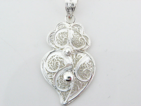 PENDVIANA - Sterling Silver Filigree Viana Heart Pendant - Columbia Jewelers, Fall River, Massachusetts, USA
