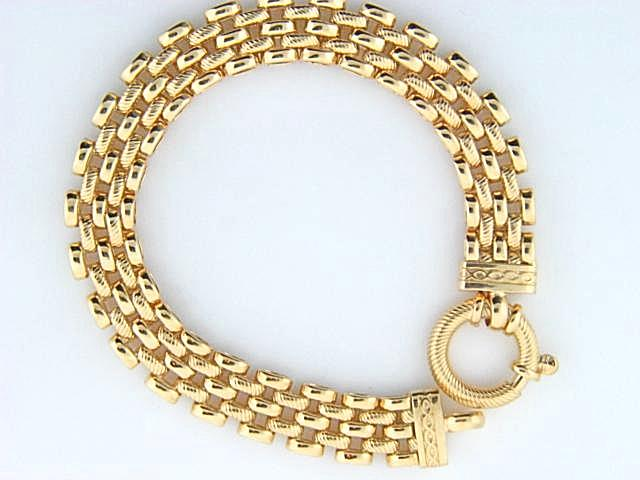 JPU50 - 19.2k Portuguese Gold 4 Rows Oval Links Ladies Bracelet - Columbia Jewelers, Fall River, Massachusetts, USA