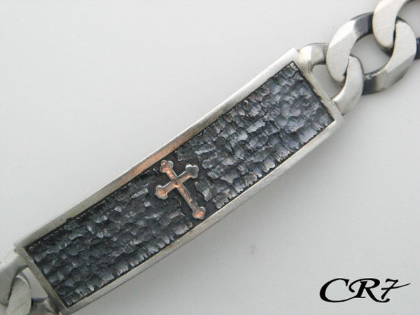 Q03.2173_R - Sterling Silver CR7 Collection Men Solid Curb Link Bracelet - Columbia Jewelers, Fall River, Massachusetts, USA