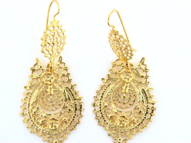 "BRQUEEN - Sterling Silver ""Queen"" Earrings (Gold Plated) - Columbia Jewelers, Fall River, Massachusetts, USA"