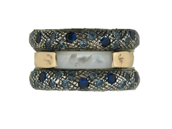 "Sterling Silver & 19.2k Gold ""Anti Stress"" Spinner Band with Mader of Pearl, Synthetic Aqua Marines, and Blue Sapphires"