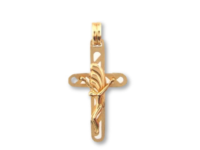 00150 - 19.2K Portuguese Gold Solid Crucifix - Columbia Jewelers, Fall River, Massachusetts, USA