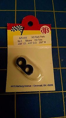 AJ'S 450 Silicone Black Tires TYCO HP7 Tomy AFX Turbo Aurora Magnatraction