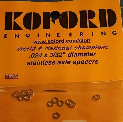 "Koford M624 .024 x 3/32"" Stainless Axle Spacers 1/24 slot car Mid-America"