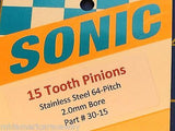 Sonic 64 Pitch 15 Tooth Drag Pinion Gear from Mid America Raceway 1/24 slot car
