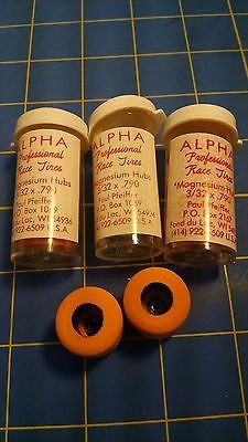 Alpha A9 3 Pairs .790 tall 3/32 axle Orange Colored Rubber from Mid America