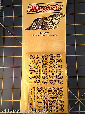 JK #2003Y Yellow 1/2 Inch And 3/8 Inch Race Car Numbers from Mid America Raceway