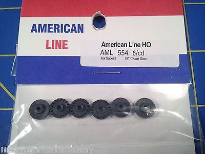 6 AFX Super II Magnatraction Slot Car 19 T Crown Gear from Mid America Raceway