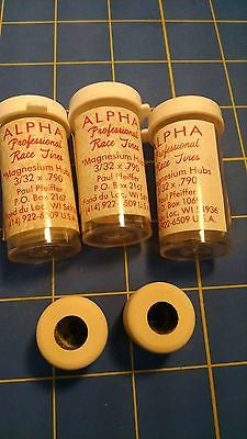 Alpha A10 3 Pairs .790 tall 3/32 axle White Colored Rubber from Mid America