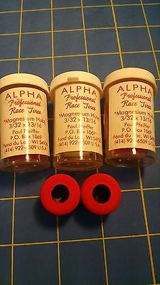 Alpha A5 3 Pairs 13/16 tall 3/32 axle Red Colored Rubber from Mid America