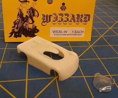 NEW White WIZZARD STORM made in USA HO Slot Car Replacent Snap Fit Hard Body