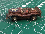 Aurora T-Jet Brown Army Jeep HO SLOT CAR  from Mid America Raceway