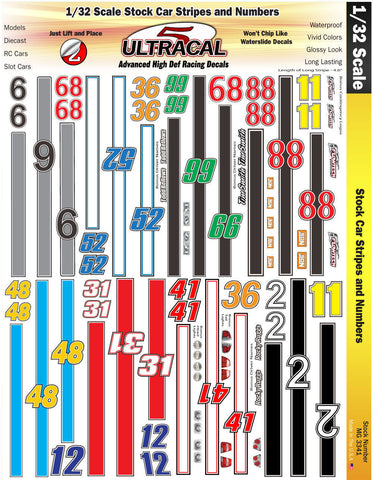 Ultracal 3321 Stock Car Stripes and Number Decals 1/32 from Naperville