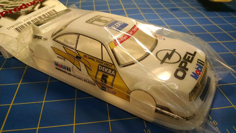 JK Custom Painted DTM Opel Joest White 1/24 slot car body Mid America