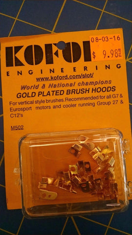 Koford M502 Gold Plated Brush Hoods 1/24 Slot Car from Mid America Raceway
