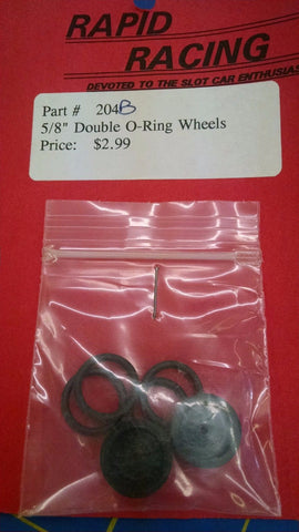 "Rapid Racing #204-B Black 5/8"" Double O-Ring Wheels from Mid-America Naperville"
