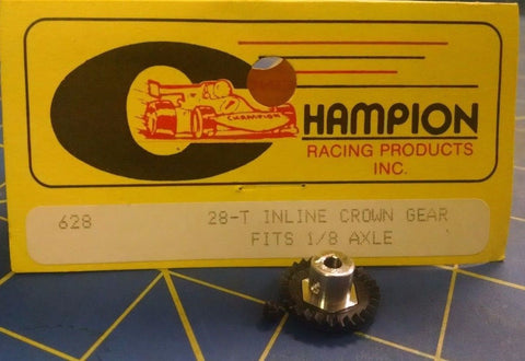 Champion 628 48P 28T Inline Crown Gear Black 1/24 slot car from Mid America