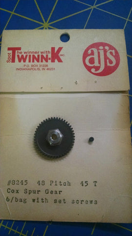 AJ's 8245 48P 45T Spur Gear Black 1/24 slot car from Mid America