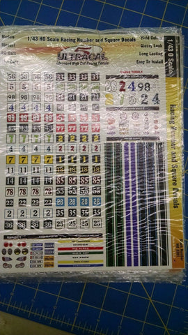 Ultracal 3201 Racing Number and Square Decals 1/43 0 from Mid-America Naperville